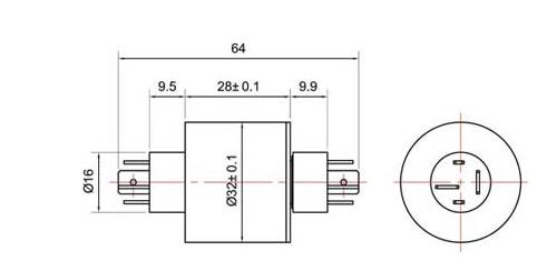 BTC032-04插片式帽式滑环结构图