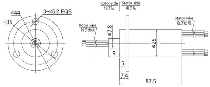 BTC025帽式导电滑环