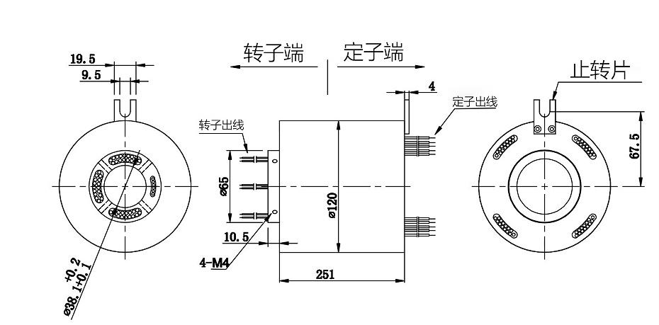 BTH38120-1270多路数大电流过孔滑环结构图
