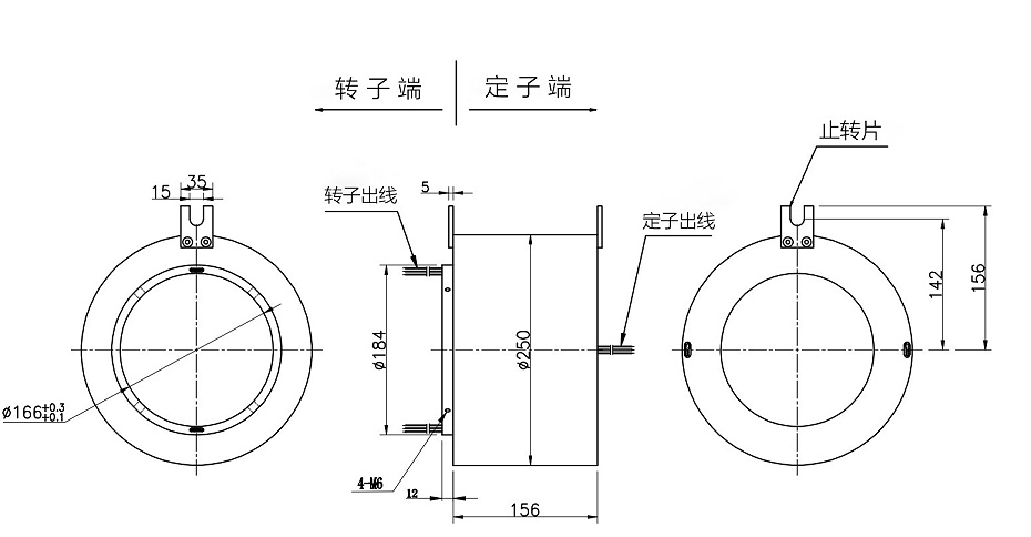BTH166250大孔径过孔导电滑环内部结构图