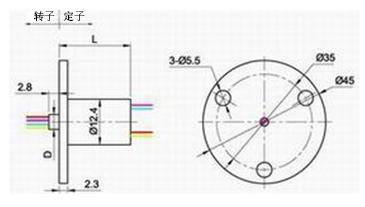 BTC012小型帽式滑环图纸